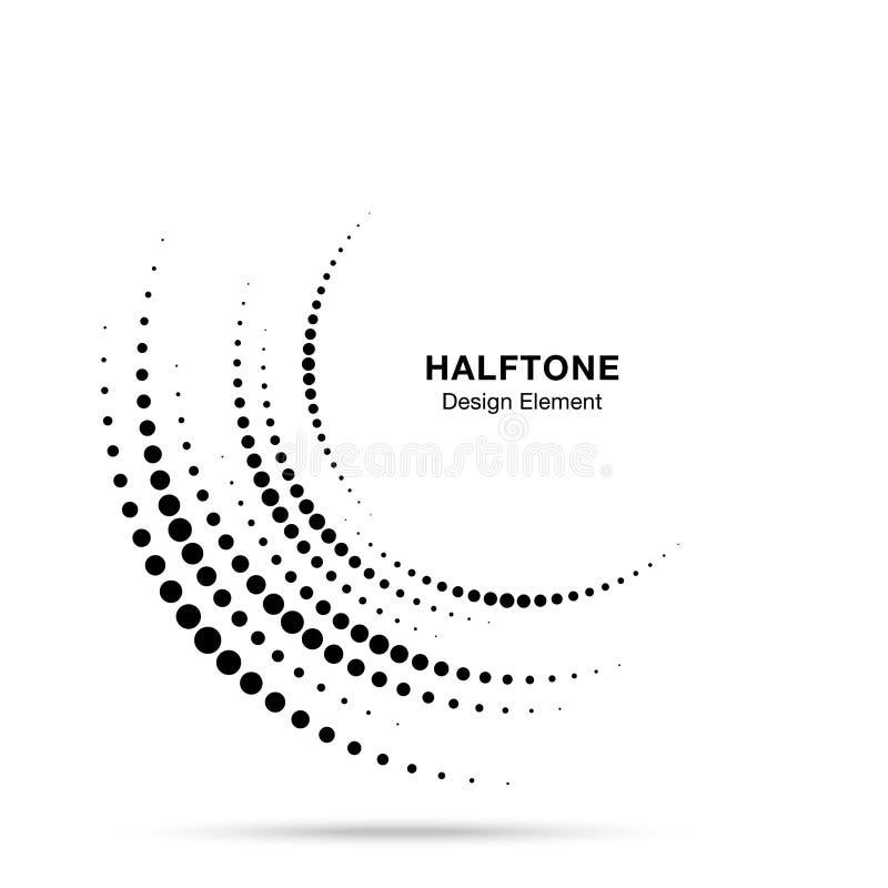 Logotipo incompleto de semitono de los puntos del marco del círculo Icono de la frontera el en semi-círculo usando la textura de  ilustración del vector