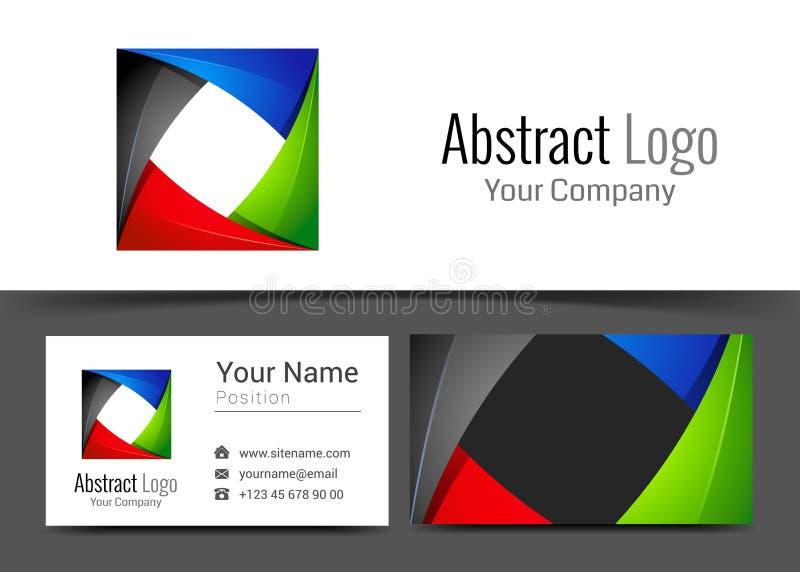 Logotipo incorporado azul verde preto vermelho abstrato e cartão ilustração stock