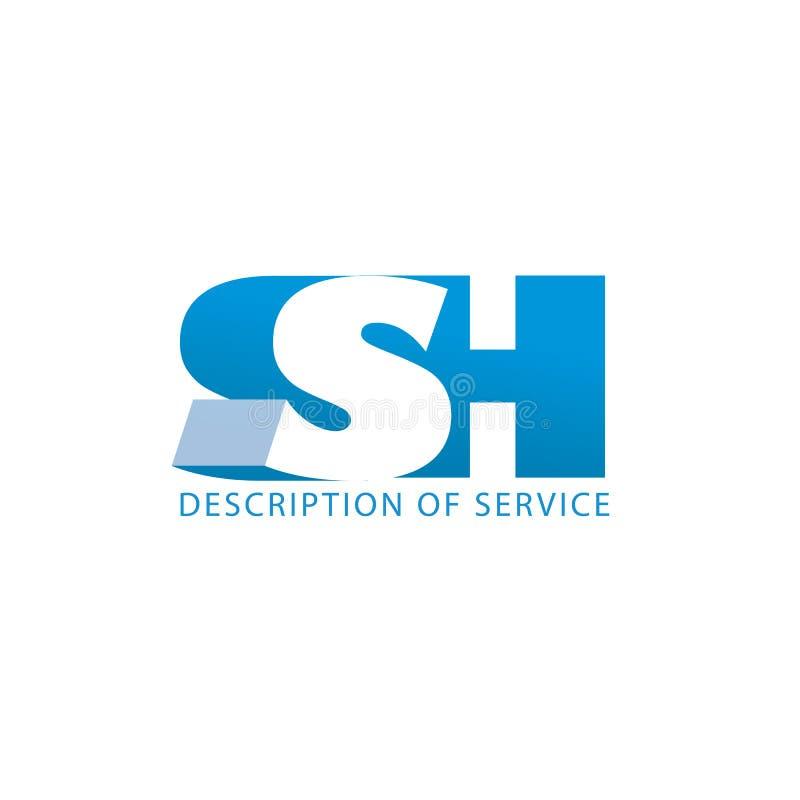 Logotipo incorporado sh, monograma 3d da arquitetura e da construção do logotipo ilustração stock