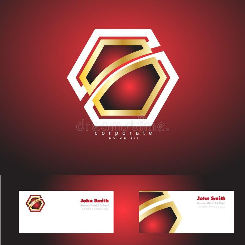 Logotipo incorporado vermelho do ouro do crachá do hexágono ilustração royalty free