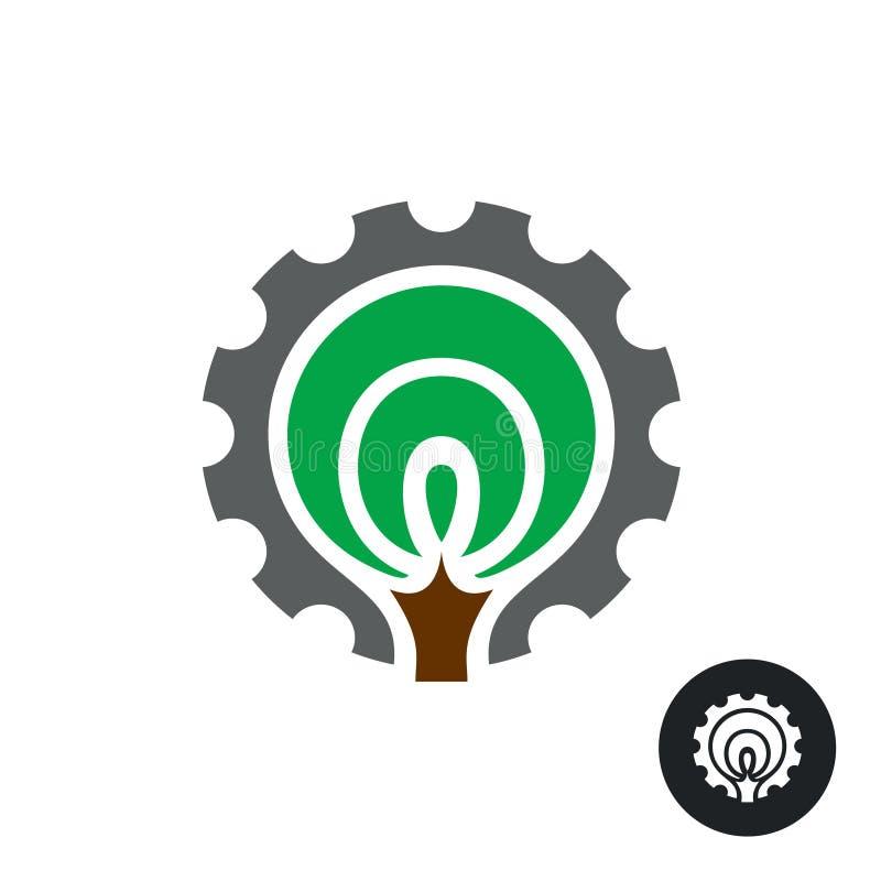 Logotipo industrial con la silueta y el engranaje estilizados del árbol alrededor stock de ilustración