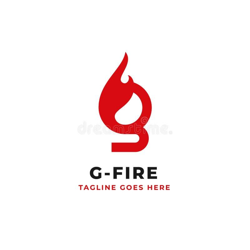 Logotipo inicial de g de la letra con diseño del vector del concepto del elemento del fuego libre illustration