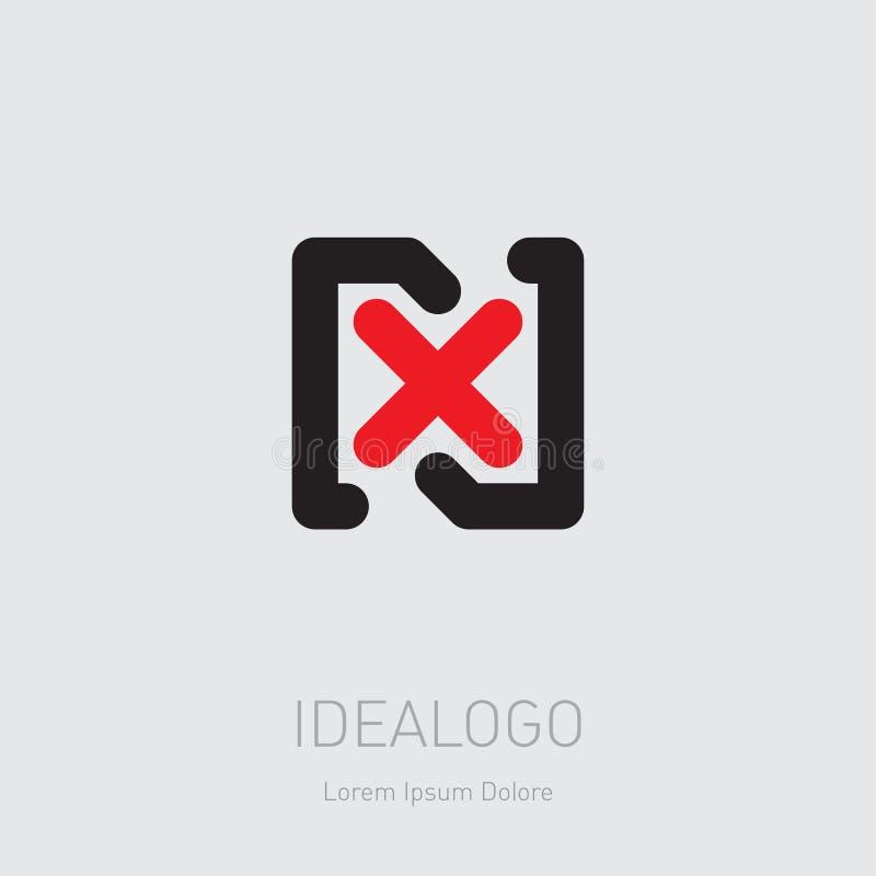 Logotipo inicial de N y de X NX - Elemento o icono del diseño del vector Logotipo inicial del monograma stock de ilustración
