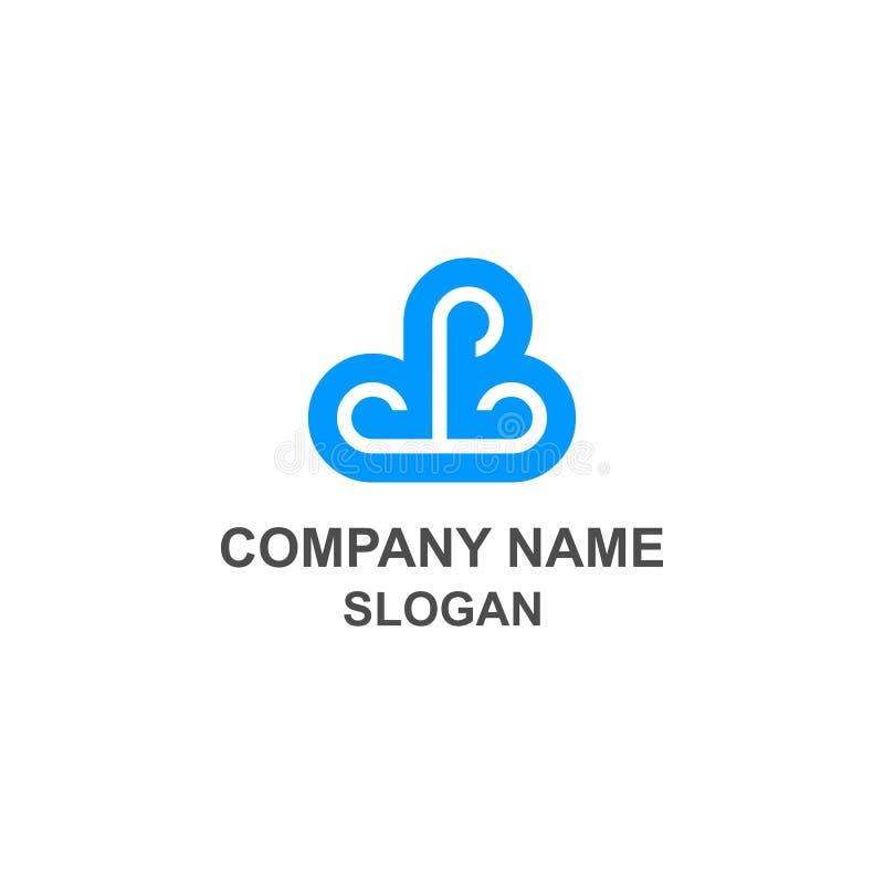 Logotipo inicial triplo da nuvem de P ilustração do vetor