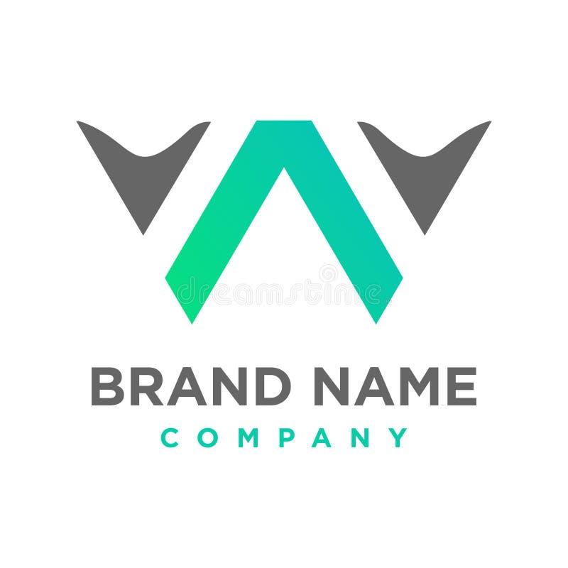 Logotipo inicial WA ilustración del vector