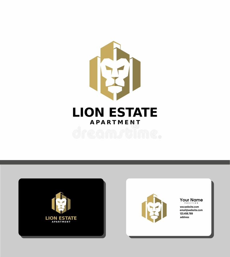 Logotipo inmobiliario del león stock de ilustración