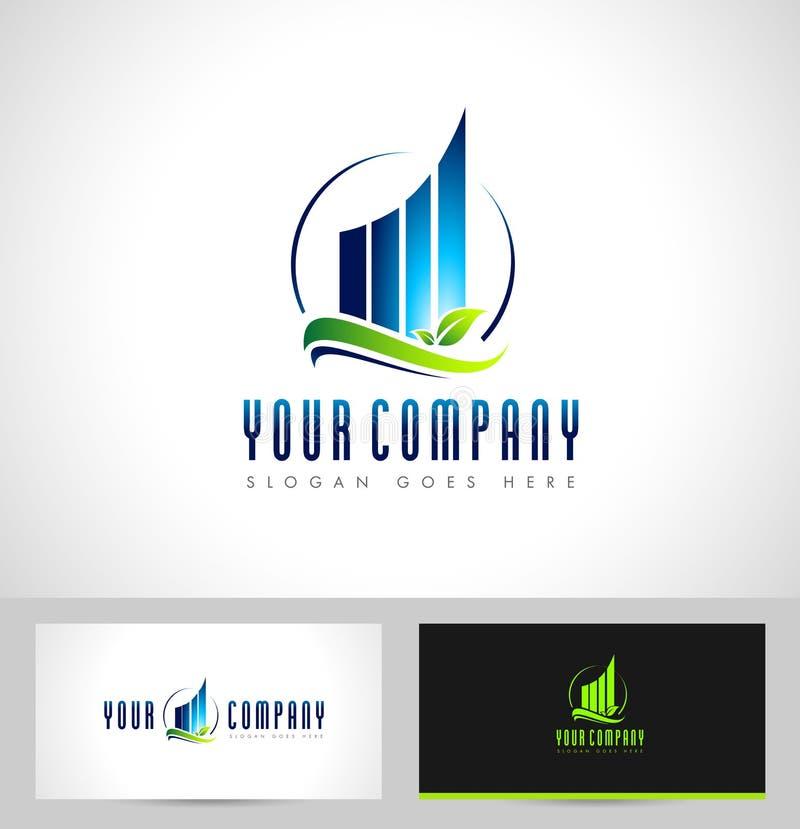 Logotipo inmobiliario del rascacielos stock de ilustración