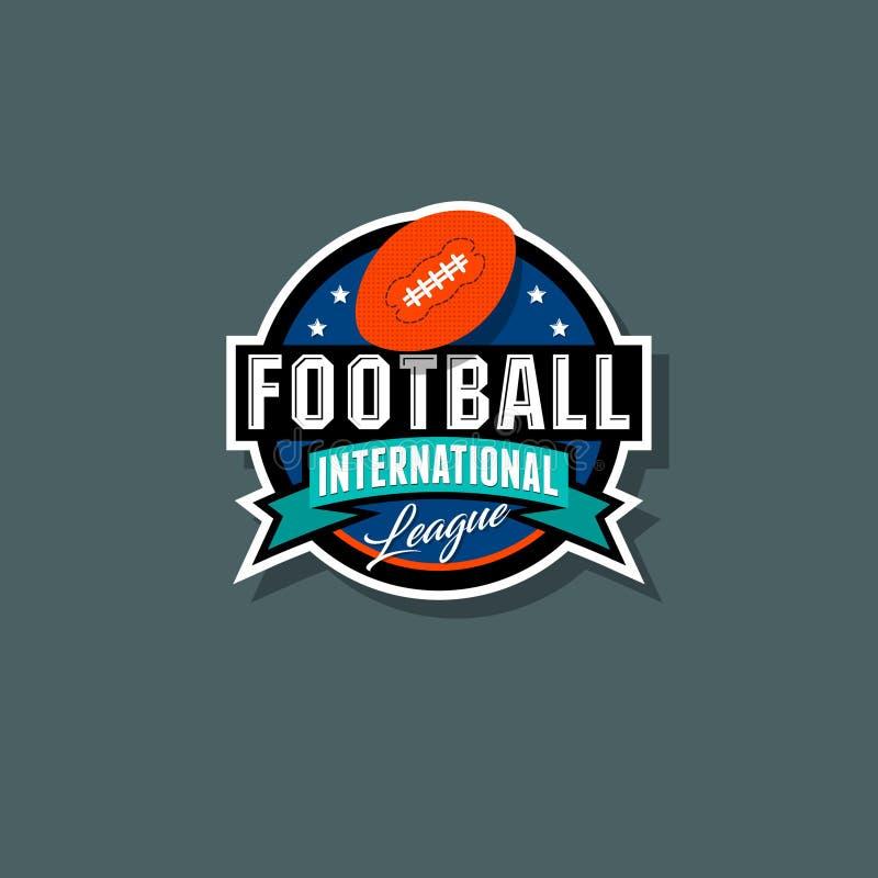 Logotipo internacional da liga do futebol americano Emblema do futebol americano ilustração royalty free