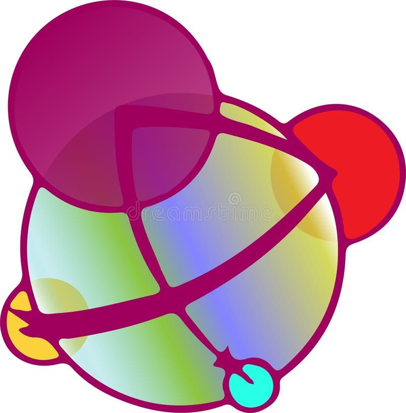 Logotipo inusual de cinco círculos en color de la frambuesa con pendiente multicolora ilustración del vector