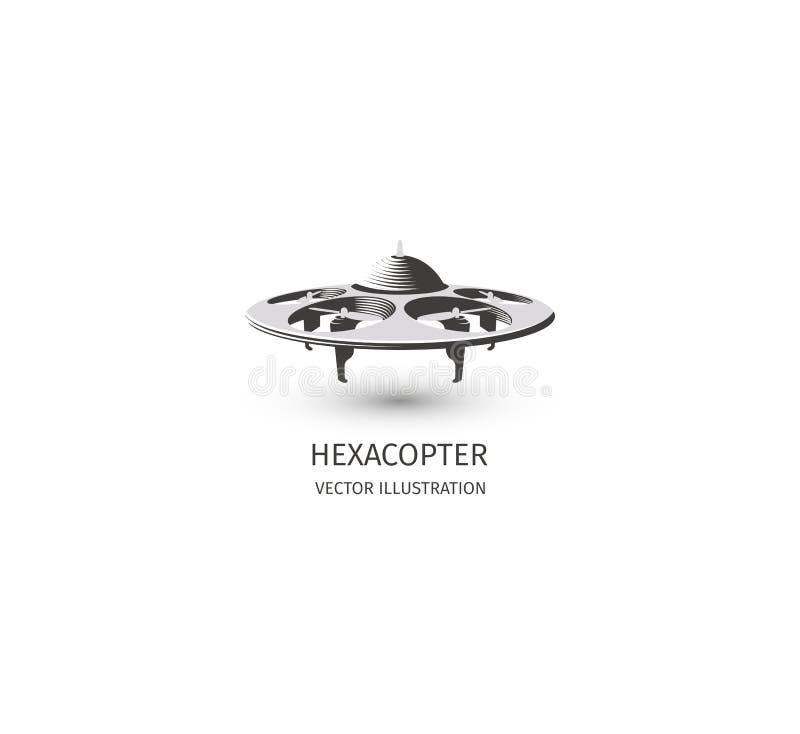 Logotipo isolado do zangão do rc no branco Logotype da tecnologia do UAV Ícone aéreo 2não pilotado do veículo Sinal de controle r ilustração do vetor