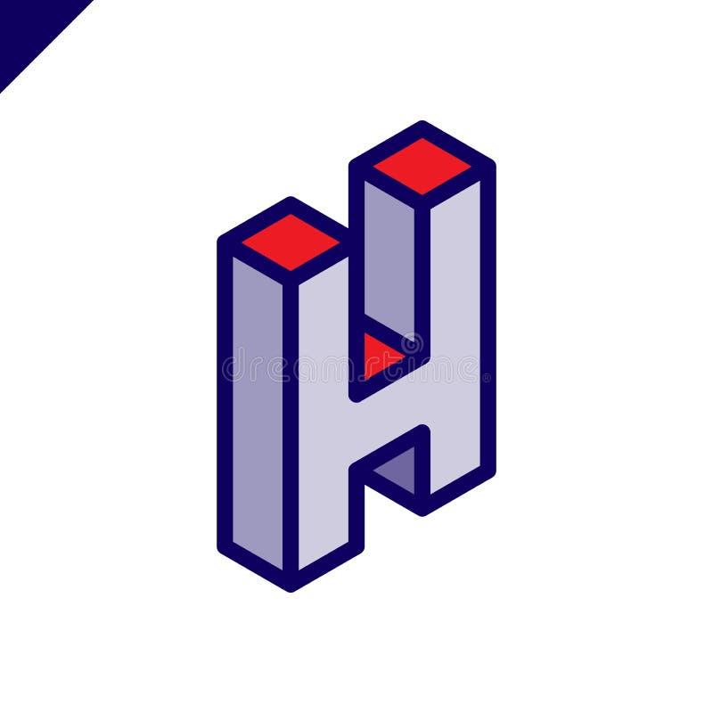 Logotipo isométrico de la letra H Abstarct y logotipo simple del vector ilustración del vector