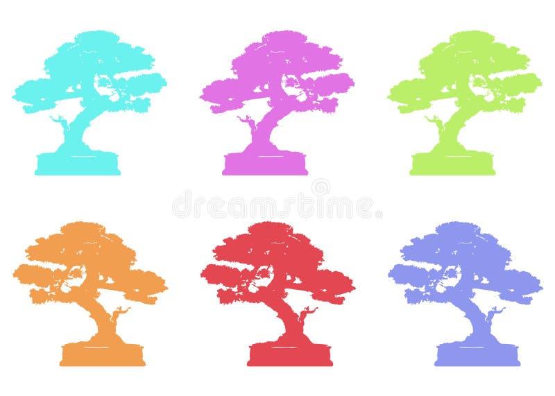 Logotipo japonés fijado del árbol de los bonsais, iconos de la silueta de la planta en el fondo blanco, ecología verde, silueta c ilustración del vector