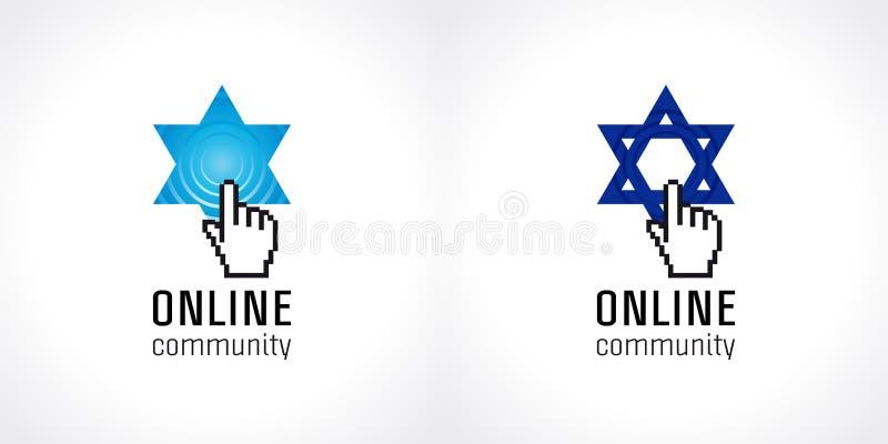 Logotipo judaico em linha do vetor da comunidade ilustração royalty free