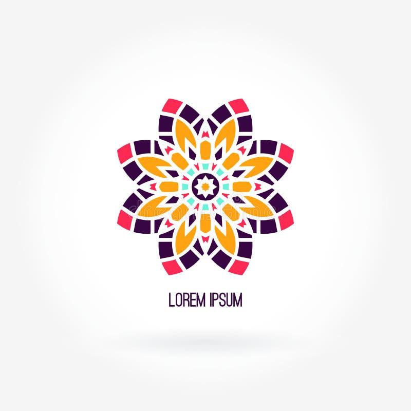 Logotipo jugoso brillante hermoso de la compañía Flor del caleidoscopio Logotipo simple de la mandala libre illustration