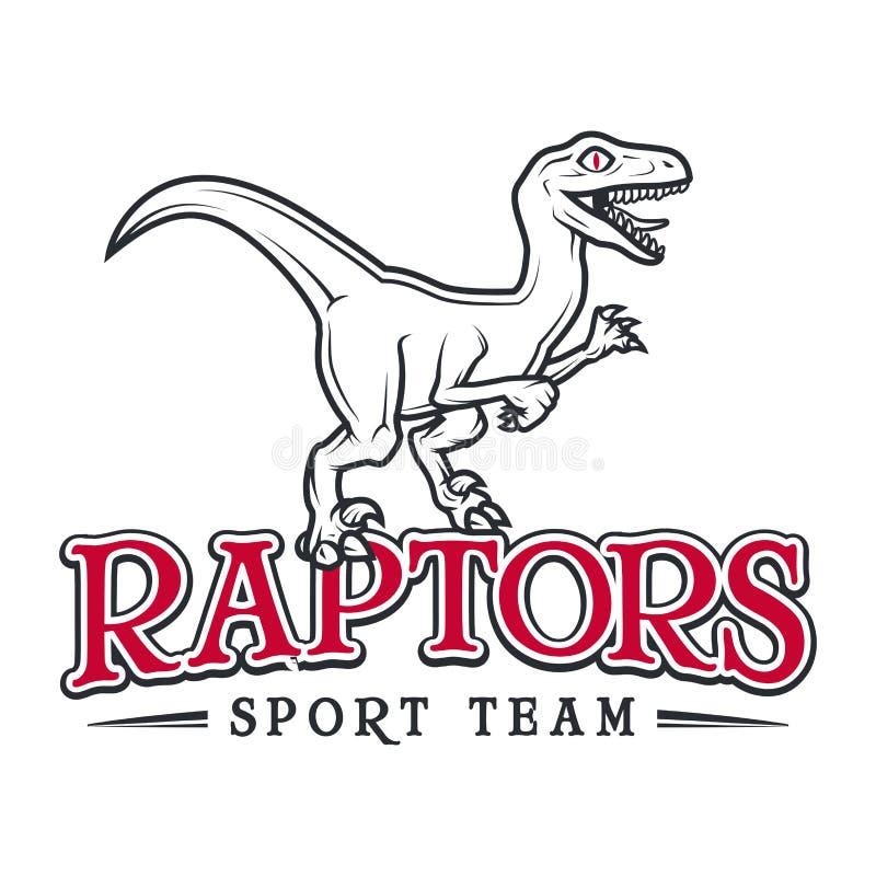 Logotipo jurásico del rapaz del vintage Diseño de la insignia de las insignias de la mascota del deporte de Dino Concepto del eje libre illustration