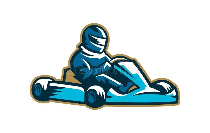 Logotipo karting colorido, deporte del moto, extremo, compitiendo con Ilustración del vector imágenes de archivo libres de regalías