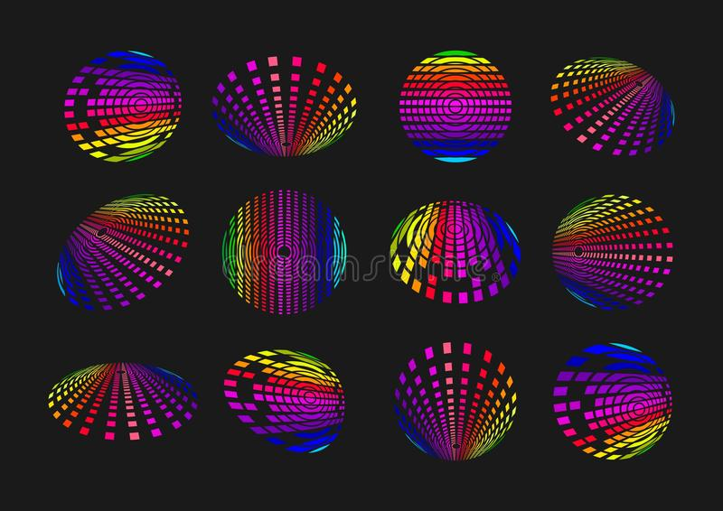 Logotipo ligero de la tecnología de la esfera, icono de los sonidos del globo, comunicación moderna del símbolo, elemento de dato ilustración del vector