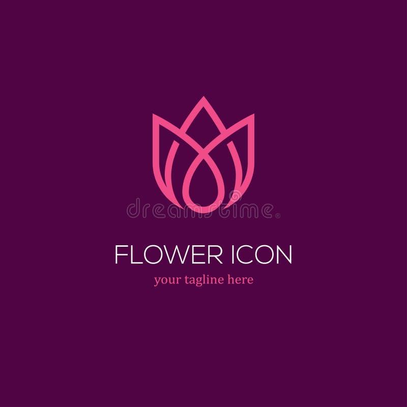 Logotipo linear abstracto del tulipán stock de ilustración