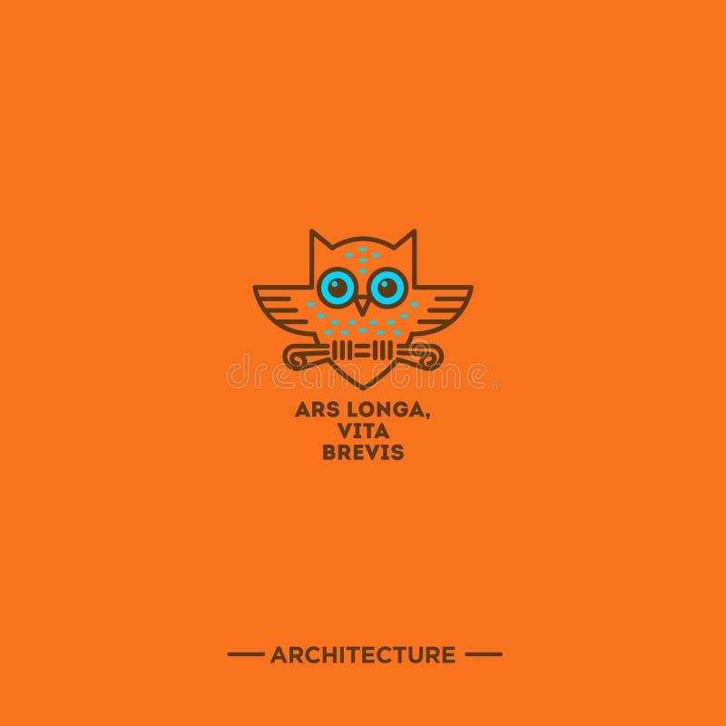 Logotipo linear da arquitetura Frase latino sobre a arquitetura Emblema da coruja ilustração stock