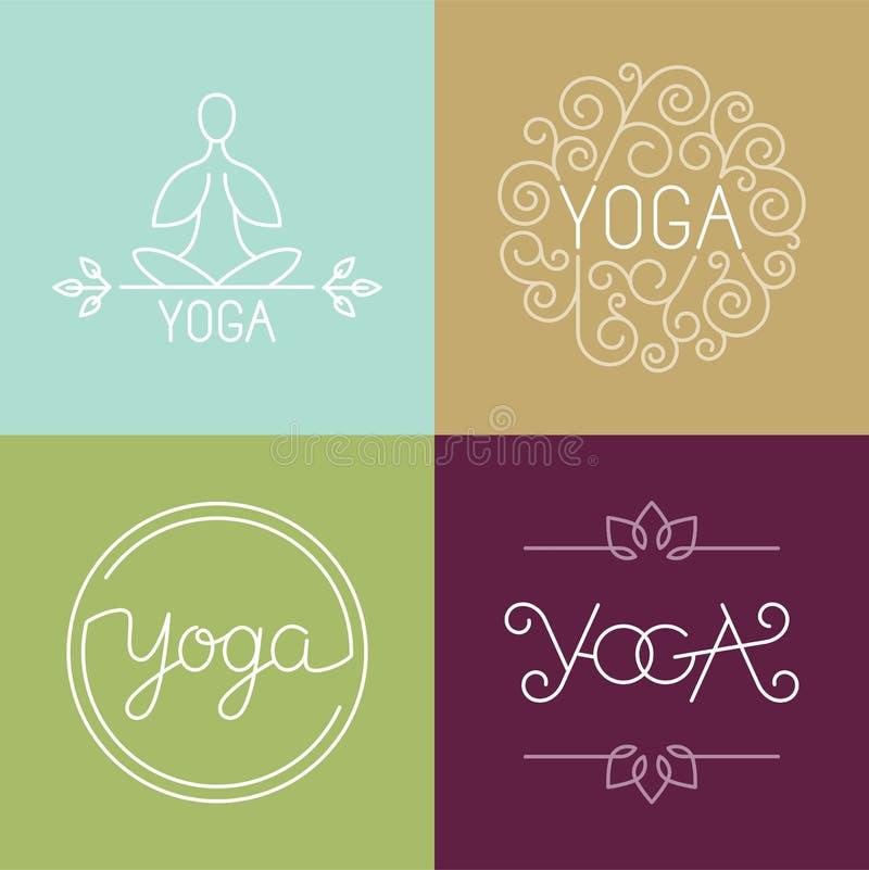 Logotipo linear da ioga do vetor ilustração stock