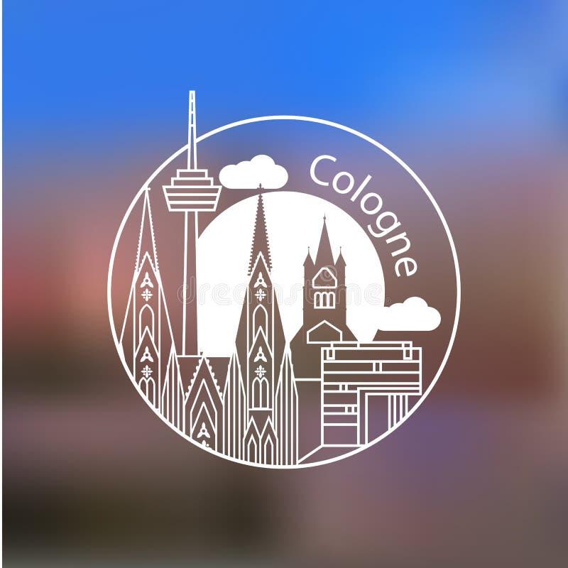 Logotipo linear del vector de Koln Señales elegantes de moda Gran St Martin Church, catedral de Colonia el símbolo de Colonia, Al stock de ilustración