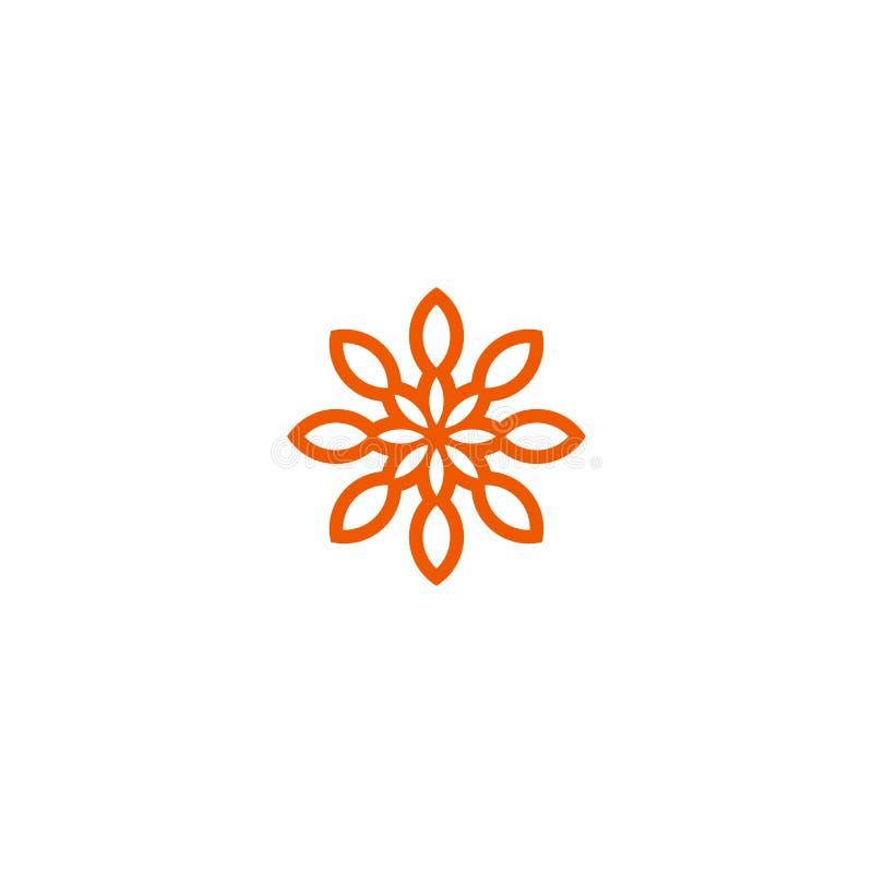 Logotipo linear do vetor da flor Linha alaranjada ícone do sol da arte Símbolo abstrato do jardim do esboço ilustração stock
