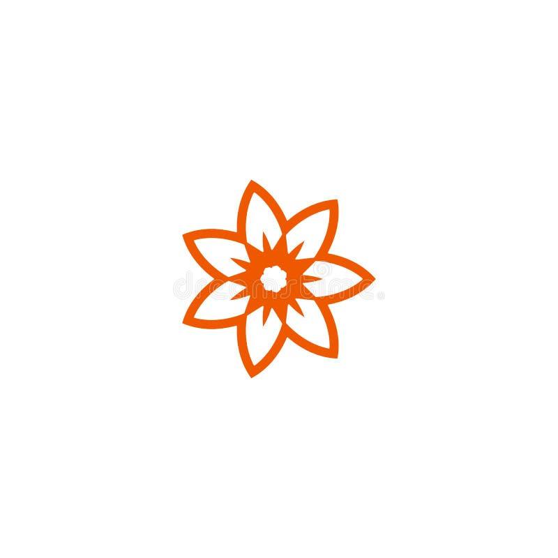 Logotipo linear do vetor da flor Linha alaranjada ícone do sol da arte Símbolo abstrato do jardim do esboço ilustração do vetor