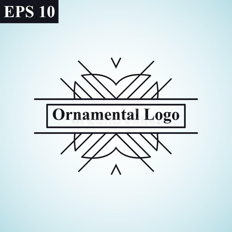 Logotipo linear do vetor do vintage geométrico mínimo monocromático antigo decorativo retro luxuoso do moderno do art deco do vin ilustração stock