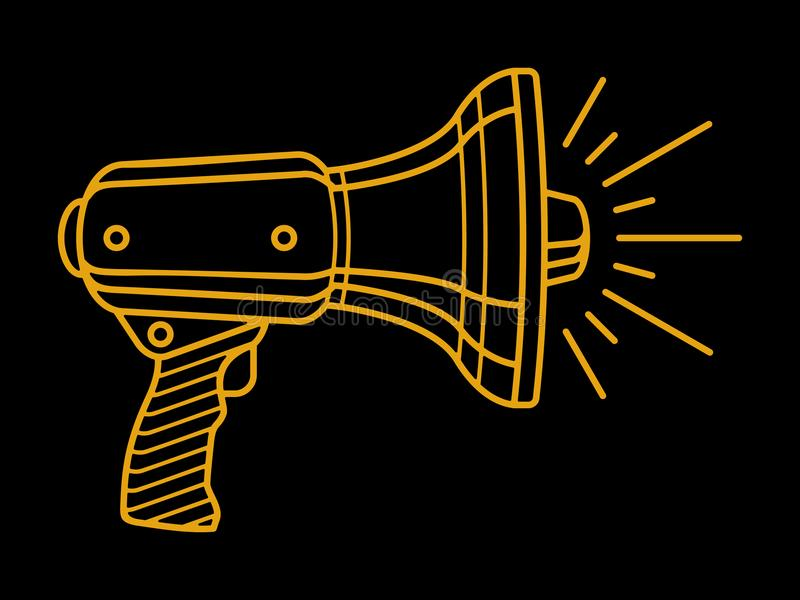 Logotipo linear en alta voz de grito del megáfono aislado en fondo negro ilustración del vector