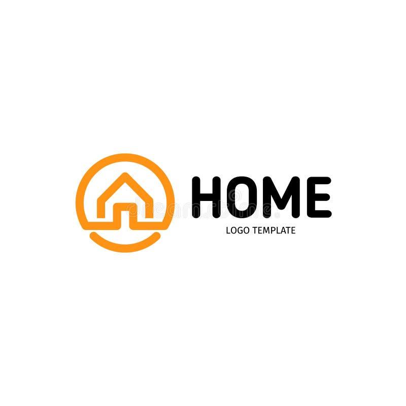 Logotipo linear home do vetor Linha esperta logotype alaranjado e preto da arte da casa Ícone dos bens imobiliários do esboço ilustração royalty free