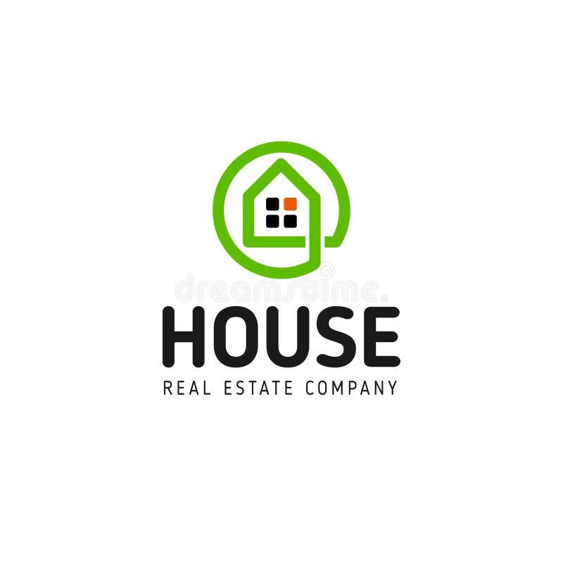 Logotipo linear home do vetor Linha esperta logotype verde e preto da arte da casa Ícone dos bens imobiliários do esboço ilustração stock