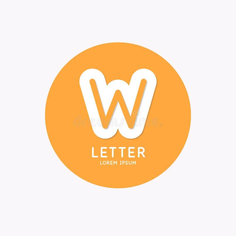 Logotipo linear moderno e para assinar a letra W ilustração royalty free