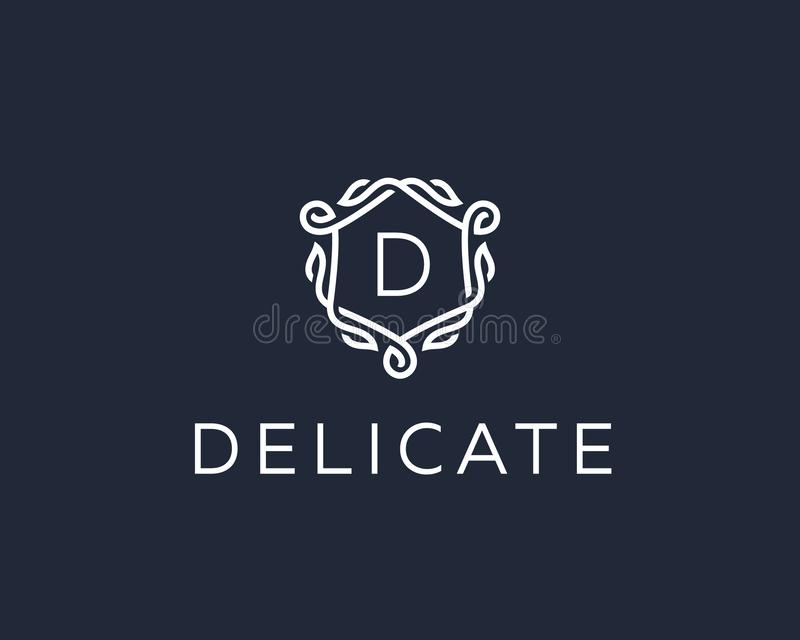 Logotipo linear superior de la letra D del monograma del escudo Logotipo elegante del vector del icono del sello de la hoja de la stock de ilustración