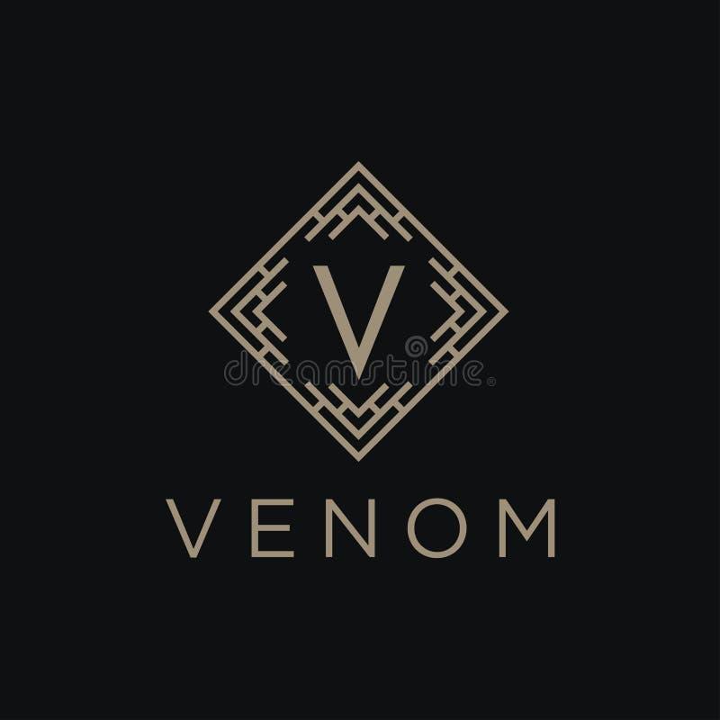 Logotipo linear superior del alfabeto del monograma del escudo Logotipo elegante del vector del icono del sello de la hoja de la  ilustración del vector