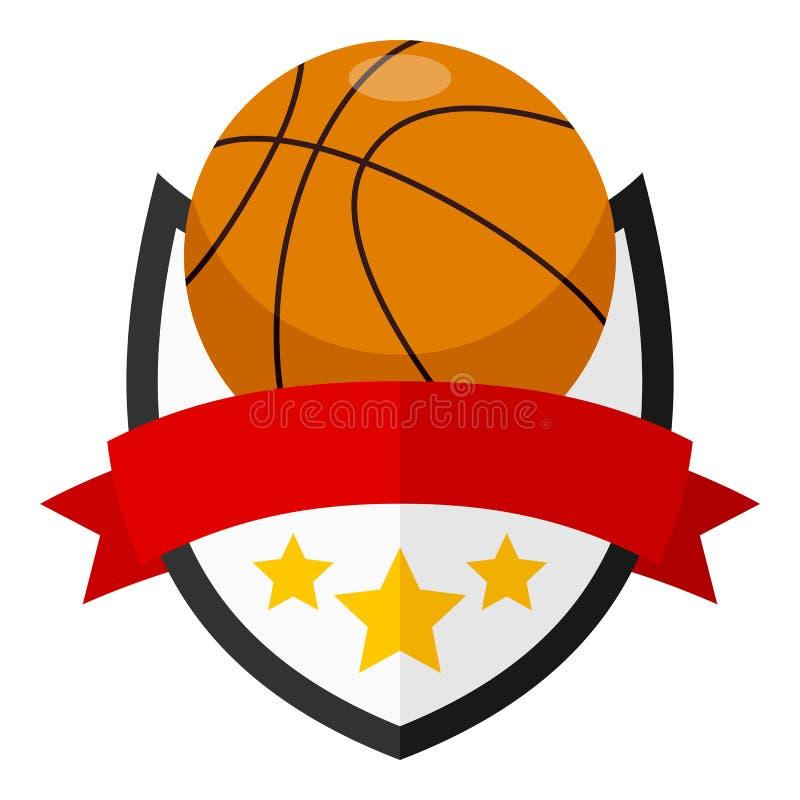 Logotipo liso da bola do basquetebol com fita ilustração royalty free