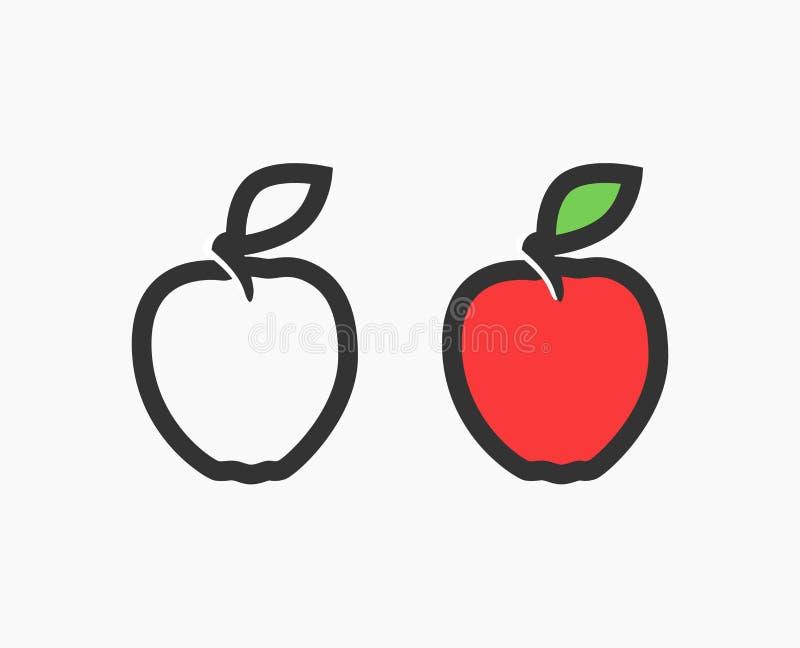 Logotipo liso de Apple vermelho ilustração stock