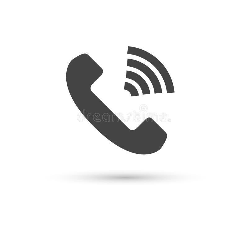 Logotipo liso do estilo do vetor do ícone do vetor do telefone Monofone com ilustração da sombra Edição fácil da ilustração Smart ilustração royalty free