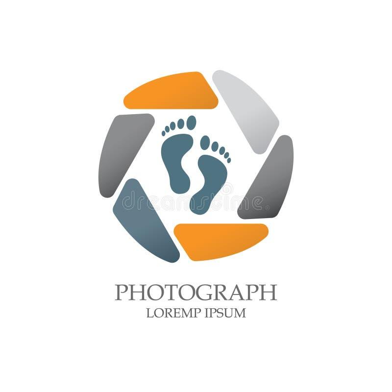 Logotipo liso moderno elegante simples da fotografia dos seixos imagem de stock