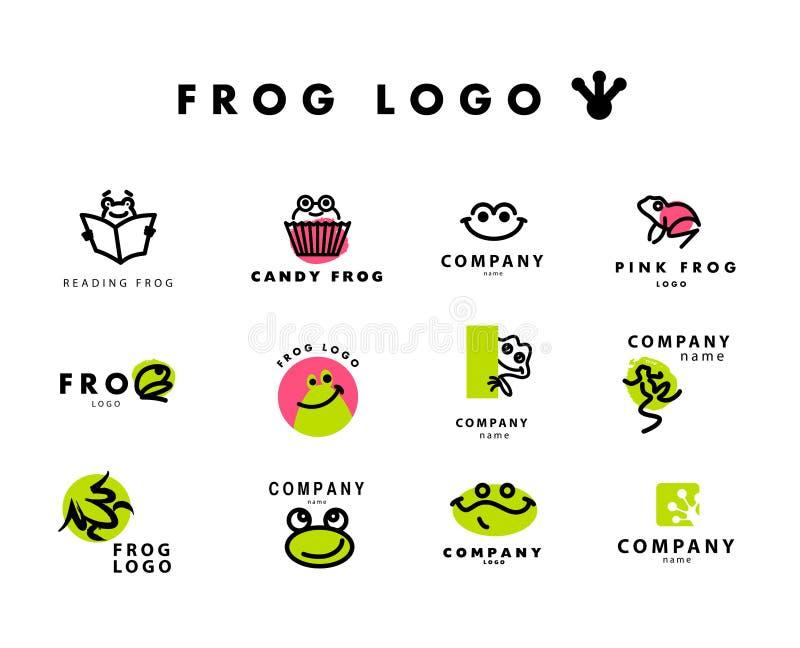 Logotipo liso simples do vetor com caráter da rã ilustração royalty free