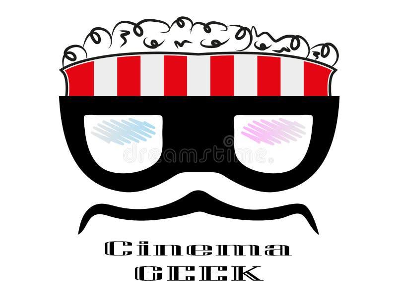 logotipo louco do cinema da caixa da pipoca do caráter do totó dos desenhos animados ilustração stock
