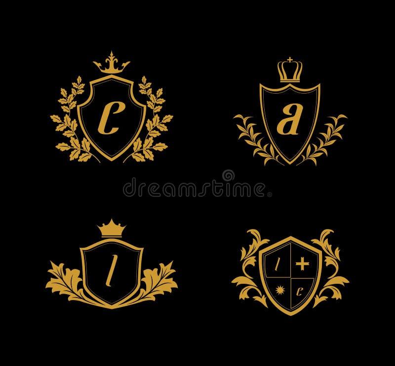 Logotipo luxuoso da crista, logotipo dourado da crista, logotipo do reino ilustração royalty free