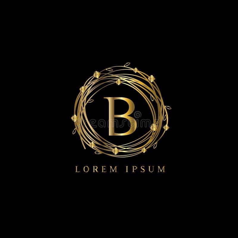 Logotipo luxuoso da letra B, sinal do molde do logotipo do vetor, símbolo, ícone, quadro do luxo do vetor ilustração stock