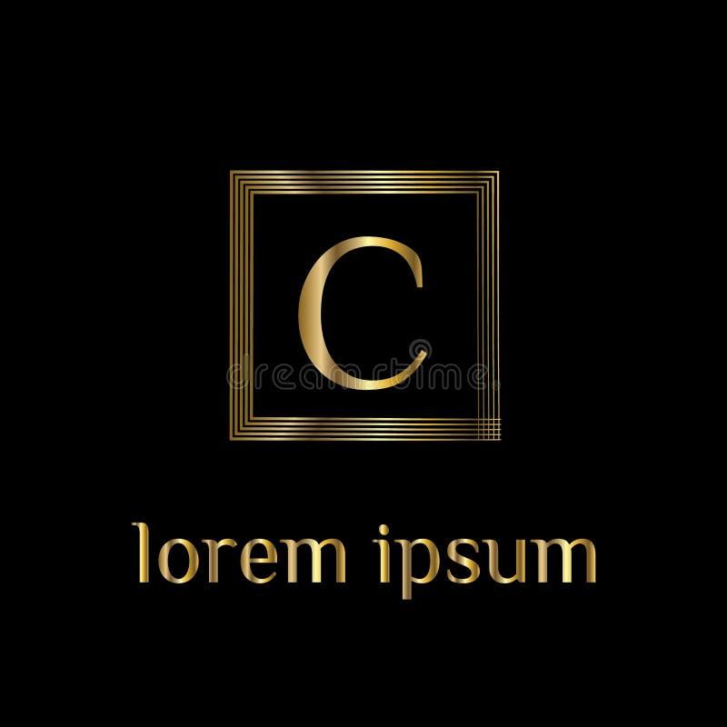 Logotipo luxuoso da letra C Vector o sinal do molde do logotipo, símbolo, ícone, quadro do luxo do vetor ilustração stock