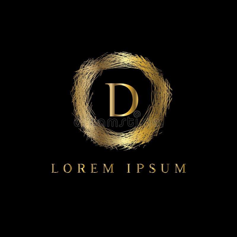 Logotipo luxuoso da letra D Vector o sinal do molde do logotipo, símbolo, ícone, quadro do luxo do vetor ilustração do vetor