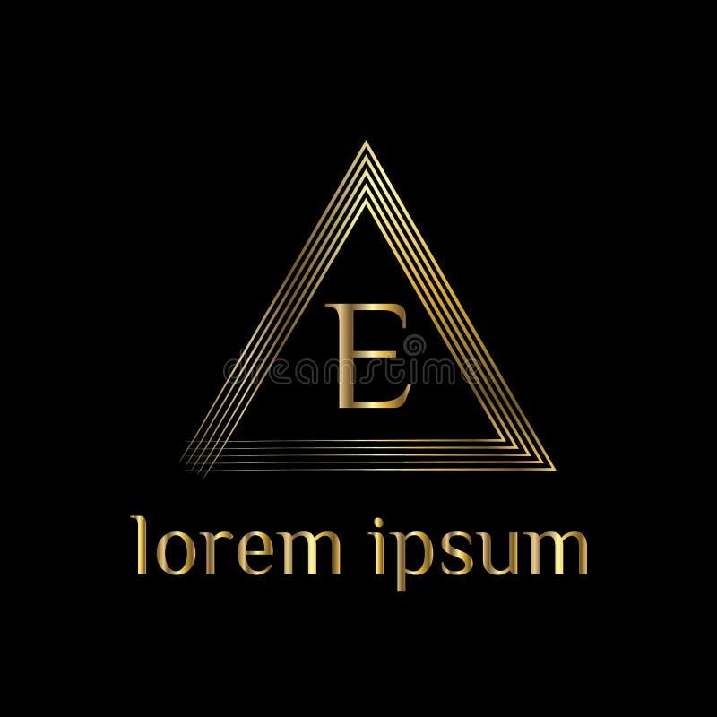 Logotipo luxuoso da letra E Vector o sinal do molde do logotipo, símbolo, ícone, quadro do luxo do vetor ilustração stock