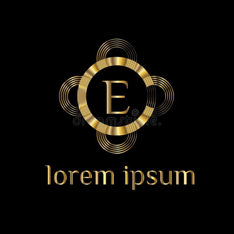 Logotipo luxuoso da letra E Vector o sinal do molde do logotipo, símbolo, ícone, quadro do luxo do vetor ilustração royalty free