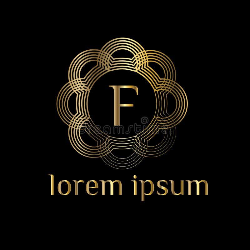 Logotipo luxuoso da letra F Vector o sinal do molde do logotipo, símbolo, ícone, framemH do luxo do vetor ilustração stock