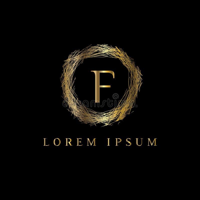 Logotipo luxuoso da letra F Vector o sinal do molde do logotipo, símbolo, ícone, quadro do luxo do vetor ilustração stock