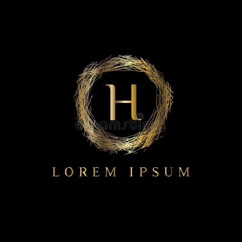 Logotipo luxuoso da letra H Vector o sinal do molde do logotipo, símbolo, ícone, quadro do luxo do vetor ilustração stock