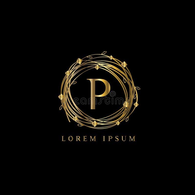 Logotipo luxuoso da letra P, sinal do molde do logotipo do vetor, símbolo, ícone, quadro do luxo do vetor ilustração royalty free